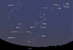 Rarely are four comets this bright in the same quadrant of sky. This map shows the sky facing east about two hours before sunrise on Oct. 31.